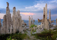<b>Tufa pinnacles at Mono Lake in Sierra Nevada</b> - Mono Lake is a closed hydrological basin meaning water flows into it but it doesnt flow out. The only way for water to leave is through evaporation. Four vertical feet of water can evaporate during the course of a year. (Bob Gibbons/Ardea/Caters News)