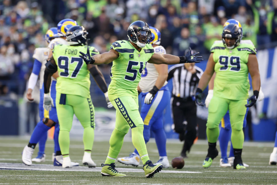 Seattle Seahawks middle linebacker Bobby Wagner reacts to a play against the Los Angeles Rams during the first half of an NFL football game, Thursday, Oct. 7, 2021, in Seattle. (AP Photo/Craig Mitchelldyer)