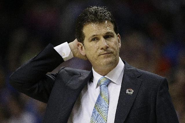UCLA head coach Steve Alford watches play against Florida during the first half in a regional semifinal game at the NCAA college basketball tournament, Thursday, March 27, 2014, in Memphis, Tenn. (AP Photo/Mark Humphrey)