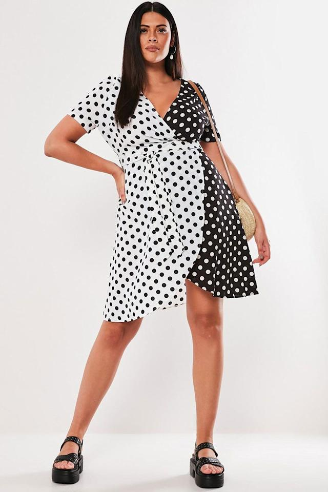 "<p>Polka-dot wrap dress, £38, Missguided</p><p><a class=""body-btn-link"" href=""https://www.missguided.co.uk/plus-black-contrast-polka-dot-wrap-dress-10106298"" target=""_blank"">BUY NOW</a></p>"