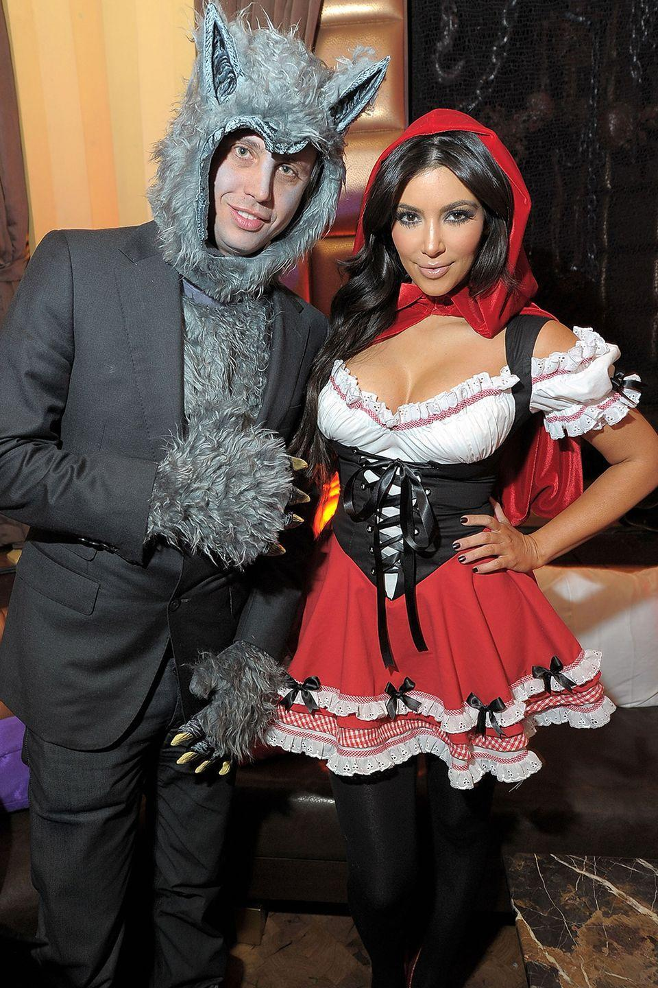 <p>Kim Kardashian and Jonathan Cheban wore <em>Little Red Riding Hood </em>costumes—the fairytale character herself and the big bad wolf—to Heidi Klum's 2010 Halloween party.</p>