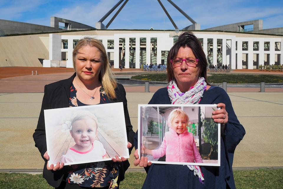 Mums Allison Rees and Andrea Shoesmith (right) who lost their daughters Bella and Summer, respectively, after they swallowed button batteries.