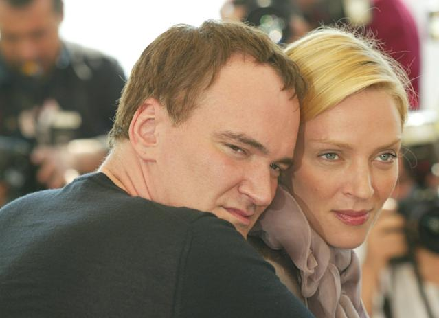 "Uma Thurman and Quentin Tarantino in Cannes, France, promoting ""Kill Bill: Vol. 2"" in 2004. (Photo: Getty Images)"