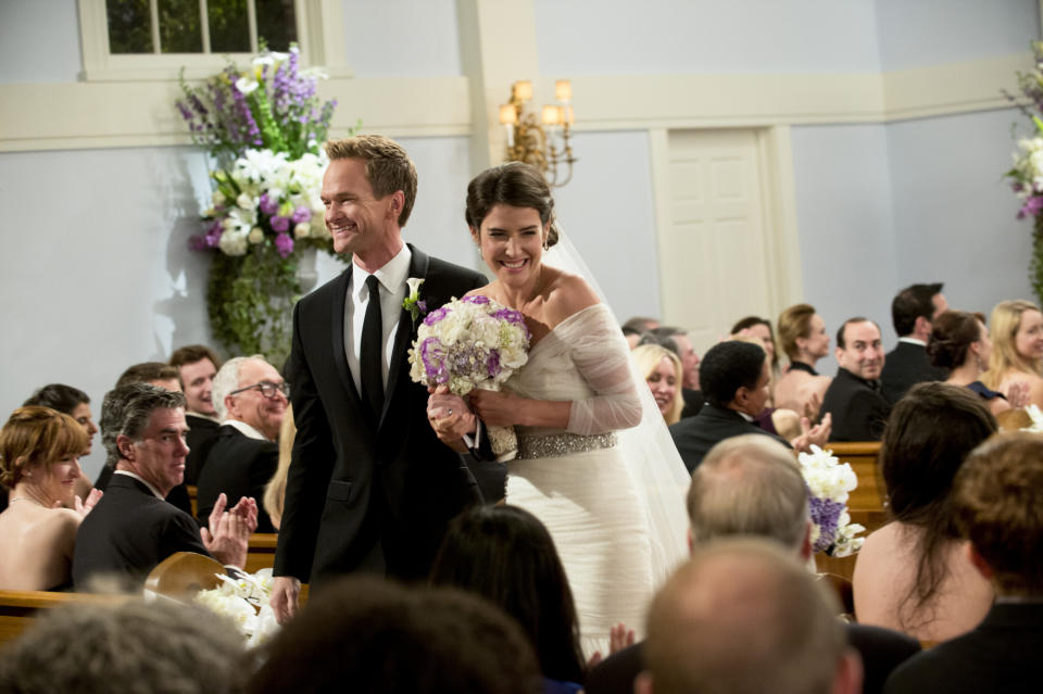"""LOS ANGELES - JANUARY 30:  """"The End of the Aisle"""" - """" With only a half-hour to go, both Barney and Robin have panic attacks about their upcoming nuptials. Meanwhile, Marshall and Lily rewrite their old wedding vows, on the final season of HOW I MET YOUR MOTHER, Monday, March 24(8:00-8:30 PM, ET/PT) on the CBS Television Network.  Pictured: Neil Patrick Harris as Barney, Cobie Smulders as Robin.  (Photo by Richard Cartwright/CBS via Getty Images)"""
