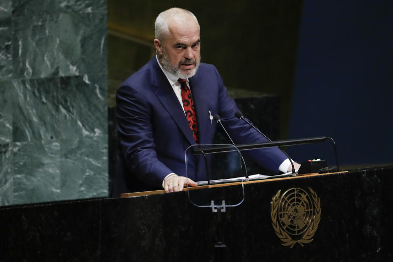 Albanian Prime Minister Edi Rama addresses the 74th session of the United Nations General Assembly, Friday, Sept. 27, 2019, at the United Nations headquarters. (AP Photo/Frank Franklin II)