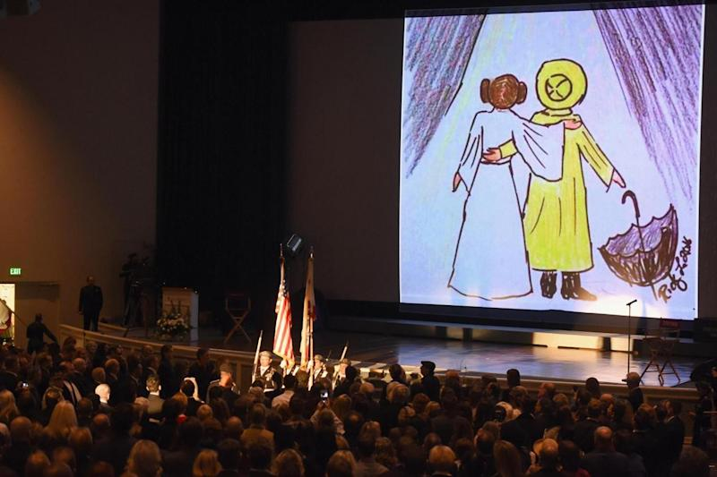 Tribute: Guests attend Debbie Reynolds and Carrie Fisher Memorial at Forest Lawn Cemetery (Getty Images)