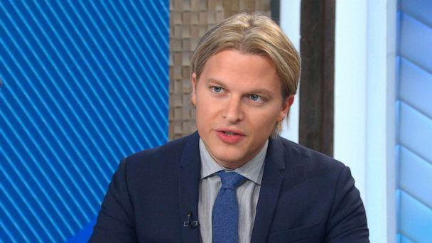 PHOTO: Journalist Ronan Farrow talks with ABC's George Stephanopoulos on Good Morning America, Jan. 7, 2020. (ABC News)