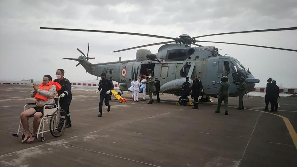 <p>People rescued by the Indian Navy  in the Arabian Sea, the cyclone is the most powerful to hit this part of the Indian Ocean in more than two decades</p> (via REUTERS)