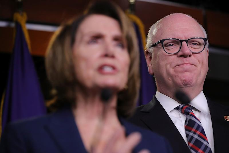 Rep. Joseph Crowley (D-NY) and House Minority Leader Nancy Pelosi (D-CA) talk to reporters following a meeting of the House Democratic caucus at the U.S. Capitol Jan. 31, 2018 in Washington, DC. House Democratic leaders responded to President Donald Trump's first State of the Union address he delivered Tuesday night. (Photo: Chip Somodevilla/Getty Images)