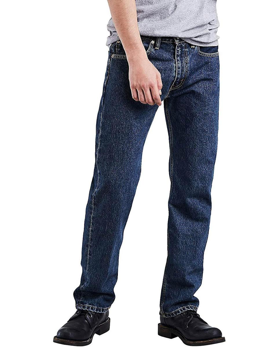 """<p><strong>Levi's</strong></p><p>amazon.com</p><p><strong>$35.68</strong></p><p><a href=""""https://www.amazon.com/dp/B0018OKNFY?tag=syn-yahoo-20&ascsubtag=%5Bartid%7C10054.g.34073873%5Bsrc%7Cyahoo-us"""" rel=""""nofollow noopener"""" target=""""_blank"""" data-ylk=""""slk:Shop Now"""" class=""""link rapid-noclick-resp"""">Shop Now</a></p><p>Behold, the #1 best-selling pair of men's jeans on Amazon. The 505 sits at the waist and offer just enough leg room to feel comfortable without being too baggy. It's available in 35 washes, though materials vary slightly between different washes. </p>"""