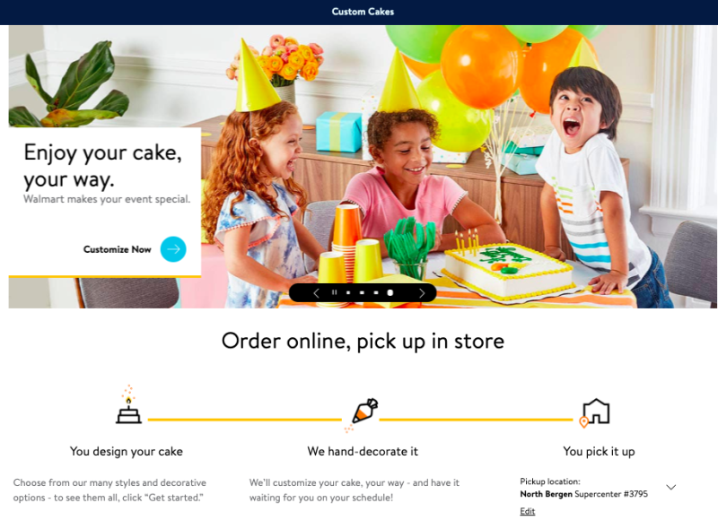 Walmart is now offering online cake ordering.