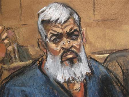 Artist's sketch of Abu Hamza al-Masri, the radical Islamist cleric facing U.S. terrorism charges, sits with his legal team in Manhattan federal court in New York