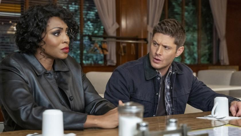 "Supernatural -- The CW TV Series, Supernatural -- ""Drag Me Away (From You)"" -- Image Number: SN1516B_0779r.jpg -- Pictured (L-R): Lisa Berry as Billie and Jensen Ackles as Dean -- Photo: Colin Bentley/The CW -- © 2020 The CW Network, LLC. All Rights Reserved. Lisa Berry and Jensen Ackles in ""Supernatural"" on The CW."