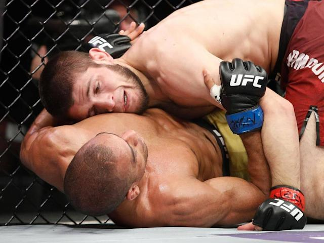 Nurmagomedov dominated Barboza on his return to the Octagon (AP)