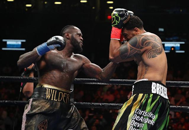 Deontay Wilder, who has one of the most destructive right hands in heavyweight history, floored Dominic Breazeale with 43 seconds left in the opening round (AFP Photo/AL BELLO)
