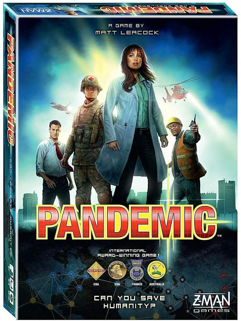 """In real life, the world is a garbage fire. In the board game Pandemic, the world is also garbage fire but &mdash; and here's where it gets interesting &mdash; you can fix it (by ridding the world of diseases, natch). <a href=""""https://www.amazon.ca/Z-Man-Games-ZM7101-Pandemic-Board/dp/B00A2HD40E/ref=sr_1_36?keywords=board+game&amp;qid=1574023926&amp;sr=8-36"""" target=""""_blank"""" rel=""""noopener noreferrer"""">Get it for $40 at Amazon.ca</a>"""