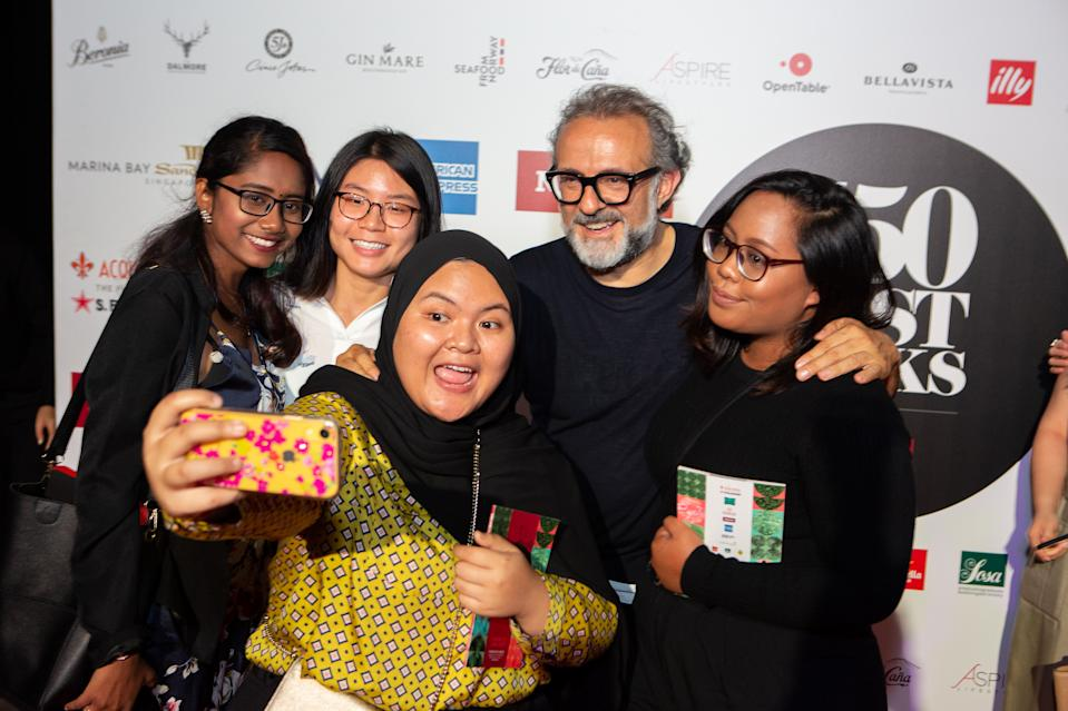 Chef Massimo Bottura poses with eager fans. (PHOTO: The World's 50 Best Restaurants 2019)