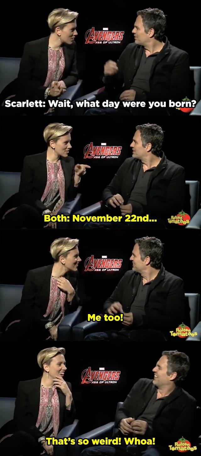 10. The time when Scarlett and Mark Ruffalo adorably recreated the birthday bit throughout the entire Age of Ultron press tour and beyond.