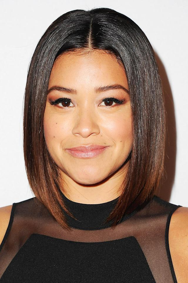 <p>Gina Rodriguez gave her blunt bob warm chestnut tips. </p>
