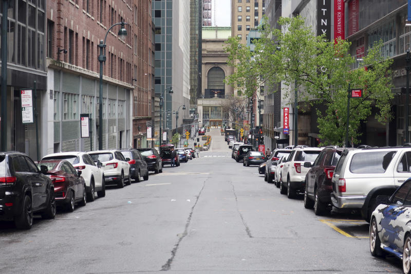 43rd Street leading to Grand Central Terminal is empty of traffic during the coronavirus pandemic on Tuesday, April 21, 2020. (AP Photo/Ted Shaffrey)