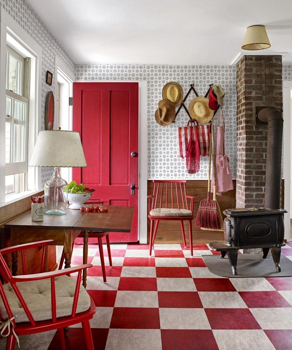 """<p>For an old-fashioned look that feels brand new, try a cheery red for your front door. You can even match your front room to it, like this home does.</p><p><a class=""""link rapid-noclick-resp"""" href=""""https://go.redirectingat.com?id=74968X1596630&url=https%3A%2F%2Fwww.walmart.com%2Fip%2FPRATT-LAMBERT-0000Z8493-16-1-gal-Red-Banner-Flat-Latex-Exterior-Paint%2F733933371&sref=https%3A%2F%2Fwww.countryliving.com%2Fhome-design%2Fcolor%2Fg31158913%2Ffront-door-colors%2F"""" rel=""""nofollow noopener"""" target=""""_blank"""" data-ylk=""""slk:SHOP RED BANNER BY PRATT & LAMBERT"""">SHOP RED BANNER BY PRATT & LAMBERT</a></p>"""