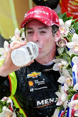 May 26, 2019; Indianapolis, IN, USA; Indycar driver Simon Pagenaud (22) celebrates winning the 103rd Running of the Indianapolis 500 at Indianapolis Motor Speedway. Mandatory Credit: Thomas J. Russo-USA TODAY Sports