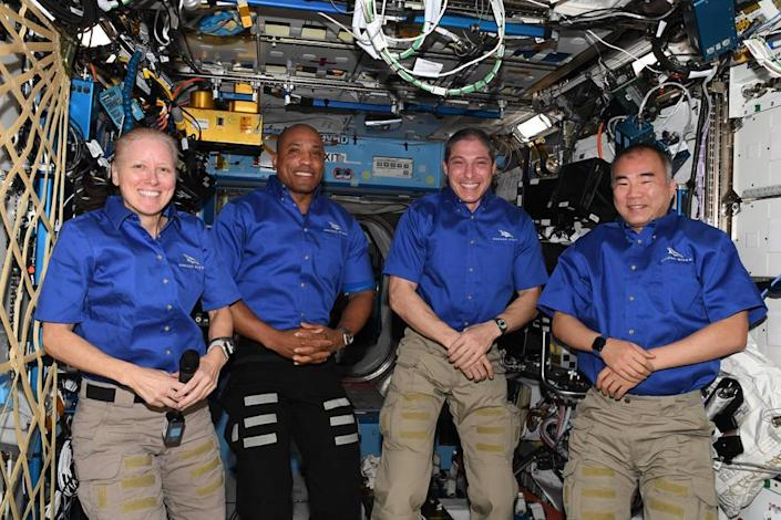 The Crew-1 astronauts plan to land in the Gulf of Mexico before dawn Sunday to wrap up a five-and-a-half month trip to the International Space Station. Left to right: Shannon Walker, Victor Glover, Michael Hopkins and Japanese astronaut Soichi Noguchi. / Credit: NASA