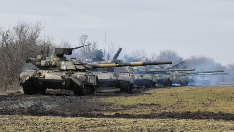 Ukrainian Armed Forces hold drills near the border of Russian-annexed Crimea in southern Ukraine