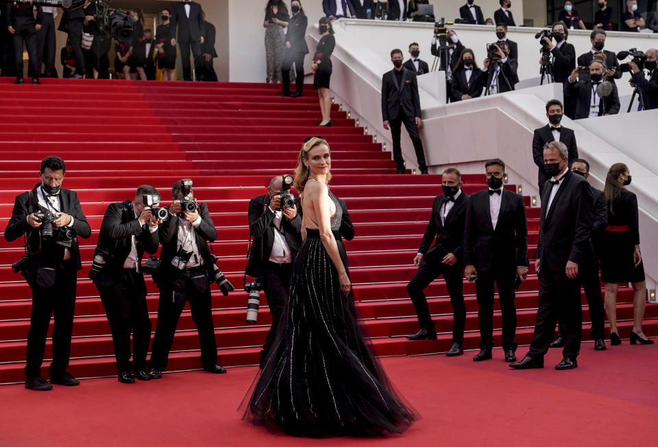 FILE - In this July 7, 2021 file photo Diane Kruger poses for photographers upon arrival at the premiere of the film 'Everything Went Fine' at the 74th international film festival, Cannes, southern France. (AP Photo/Brynn Anderson, File)