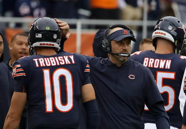 Despite being blamed for some of the Bears' problems on offense last season, Mitchell Trubisky has Matt Nagy's support. (Getty)