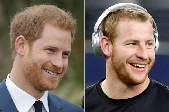 "Prince Harry and <a class=""link rapid-noclick-resp"" href=""/nfl/teams/phi/"" data-ylk=""slk:Philadelphia Eagles"">Philadelphia Eagles</a> <a class=""link rapid-noclick-resp"" href=""/nfl/players/29236/"" data-ylk=""slk:Carson Wentz"">Carson Wentz</a> seriously look like they're brothers, and even the Eagles think so. (AP)"