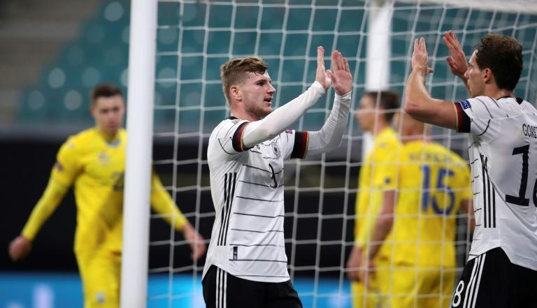 Timo Werner (C) celebrates with Leon Goretzka (R) in Germany's Nations League win over Ukraine on Saturday in the Nations League