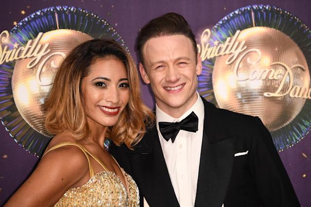 Dancers Karen Clifton and husband Kevin Clifton attend the 'Strictly Come Dancing 2017' red carpet launch, 2017. (Gareth Cattermole/Getty Images)