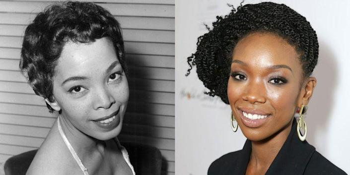 <p>We think it's their oval faces and slender jawlines that make Brandy the spitting image of '60s actress Olga James. </p>
