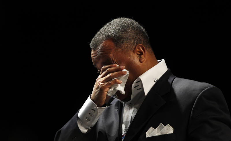 Fred Luter, Pastor of the Franklin Ave. Baptist Church in New Orleans, wipes away tears as he is elected as president of the Southern Baptist Convention, at the convention in New Orleans, Tuesday, June 19, 2012. Luter is the first African-American to be elected president of the nation's largest Protestant denomination. (AP Photo/Gerald Herbert)