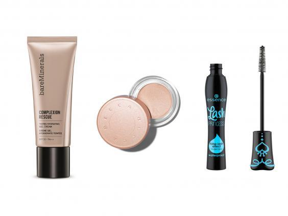 For lightweight, hot-weather friendly makeup, try these products that will last all day (left, bareMinerals, middle, Space NK, right, Feel Unique)
