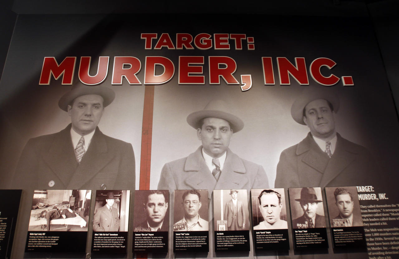 An exhibit featuring a target of the G men, Murder, Inc. is pictured at The Mob Museum on Monday, Feb. 13, 2012, in Las Vegas. The publicly funded, $42 million Mob Museum represents a new height in Sin City's lawlessness devotion. (AP Photo/Isaac Brekken)