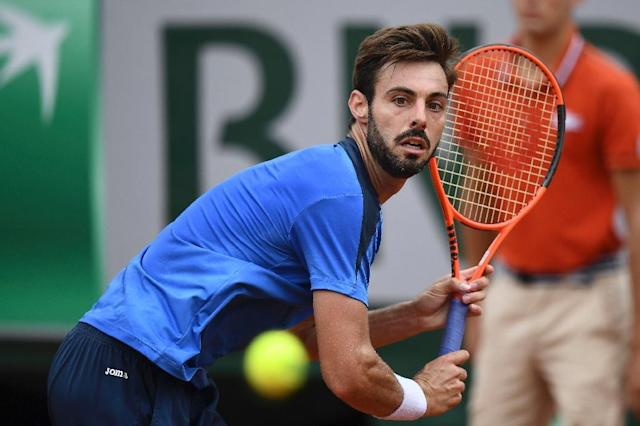 Spain's Marcel Granollers, pictured in May 2017, ousted top-seeded player Adrian Mannarino at the ATP grass court tournament despite being ranked 124th in the world (AFP Photo/GABRIEL BOUYS )