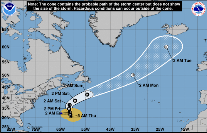 Hurricane Epsilon, which saw some rapid intensification Wednesday, saw some slight weakening overnight and is now a powerful Category 2 hurricane with maximum sustained winds near 110 mph with higher gusts, according to the National Hurricane Center.