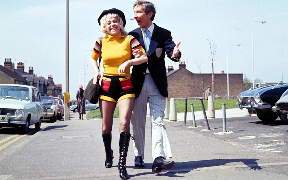 Kenneth Williams and Barbara Windsor filming Carry On Abroad - ITV/Shutterstock