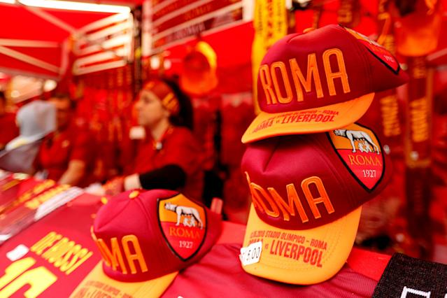 Soccer Football - Champions League Semi Final Second Leg - AS Roma v Liverpool - Stadio Olimpico, Rome, Italy - May 2, 2018 General view of merchandise for sale outside the stadium before the match Action Images via Reuters/John Sibley