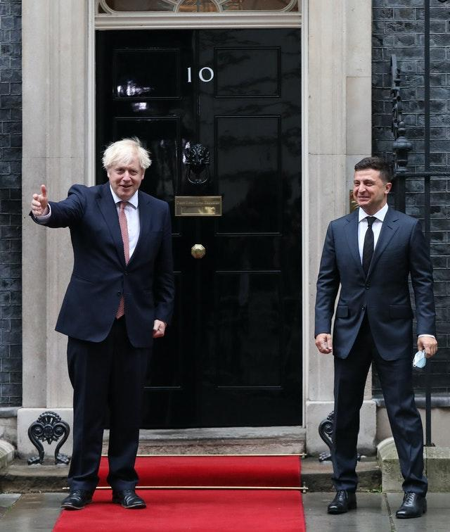 Prime Minister Boris Johnson (left) welcomes the President of Ukraine, Volodymyr Zelenskyy, to Downing Street (Aaron Chown/PA)