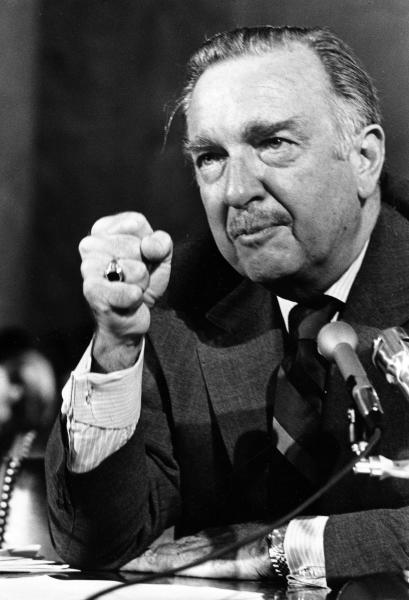 """FILE - This Sept. 30, 1971 file photo shows TV news commentator Walter Cronkite as he testifies on freedom of the press in front of a Senate subcommittee in Washington. In """"Cronkite,"""" a biography by Douglas Brinkley, the CBS Newsman emerges as the intrepid newshound upon whom was thrust the unsought mantle of """"most trusted man in America"""" and who never betrayed that public trust. (AP Photo, file)"""