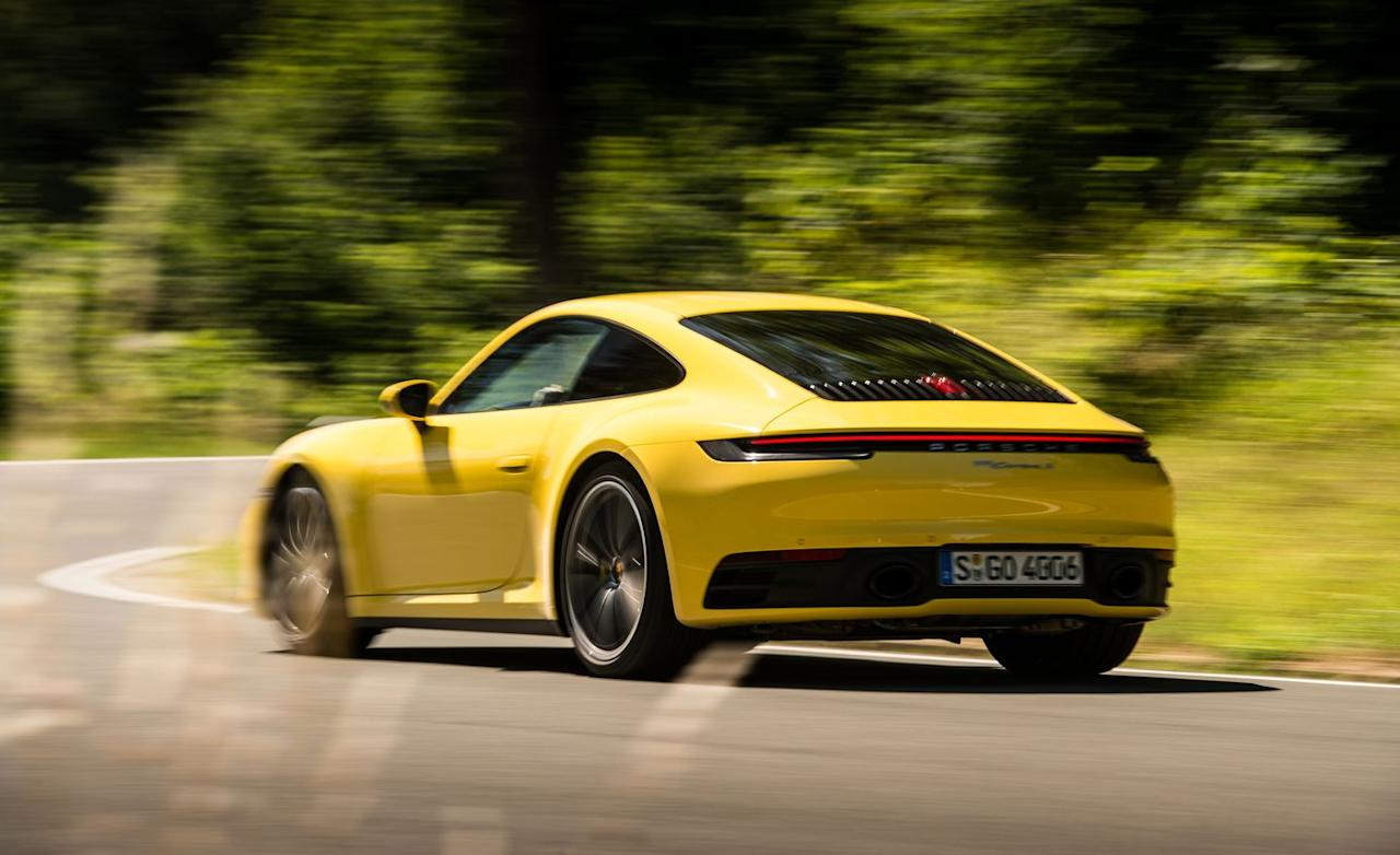 "<p>Equipped with <a href=""https://www.caranddriver.com/porsche"" target=""_blank"">Porsche</a>'s optional eight-speed dual-clutch automatic transmission (a seven-speed manual remains standard), the 911 is capable of launch-control starts that'll leave even the most jaded test driver with the giggles.</p>"