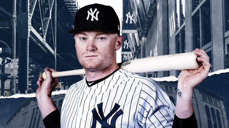 Clint Frazier treated image with bat behind him