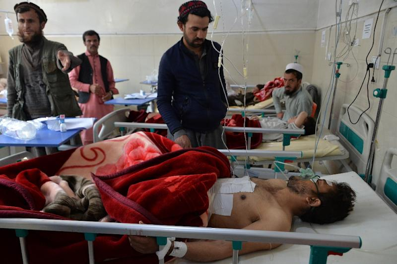 Victims are treated at a hospital following a suicide attack on a private construction company on March 6, 2019 in Jalalabad -- the area near the Afghan city is home to fighters from the Taliban and the Islamic State group's Afghan affiliate