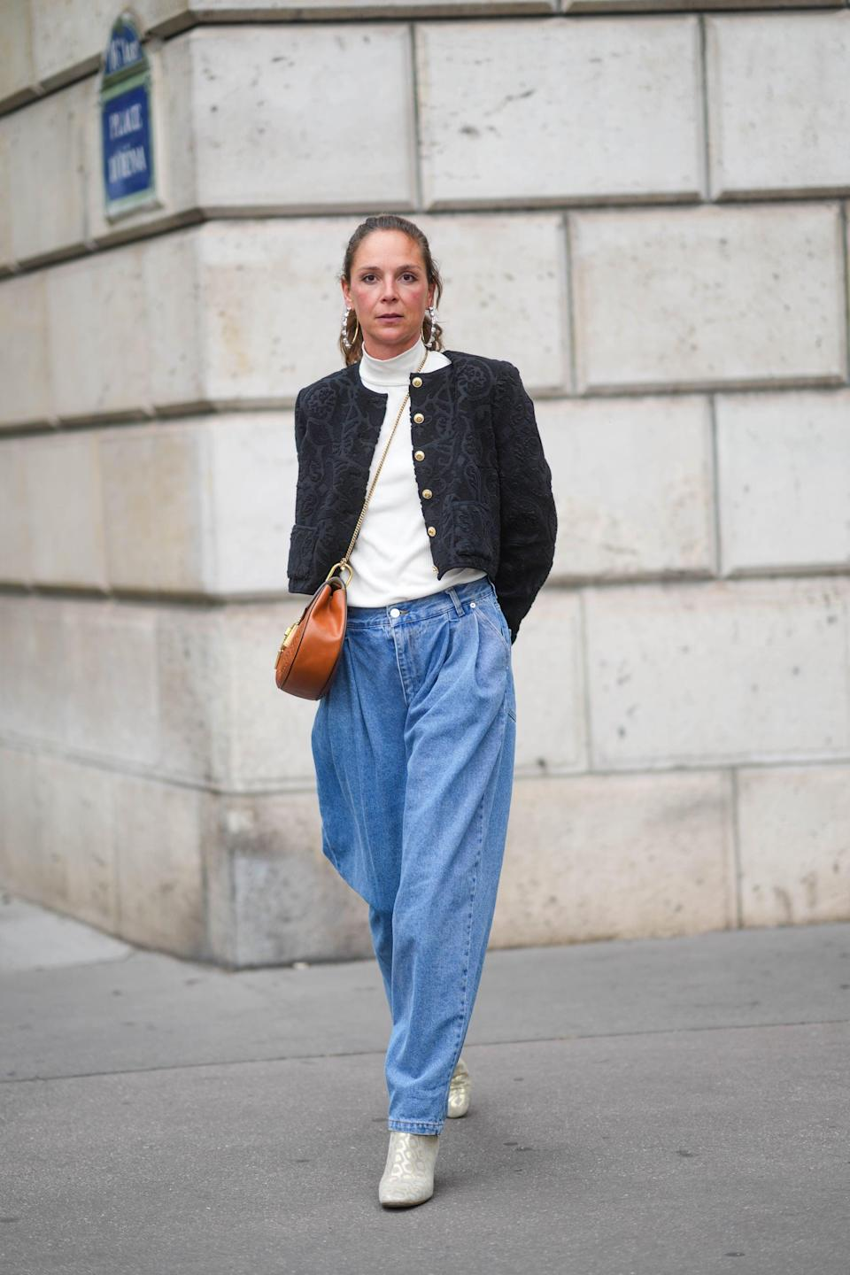 <p>A blissful ode to the '80s, tapered high-rise barrel jeans are a sleeker, more stylized take on the mom jean. They can be easily paired with turtlenecks for winter and fitted tanks or plain muscle tees for hotter months. If you really want to go all-out '80s, opt for an acid wash.</p>