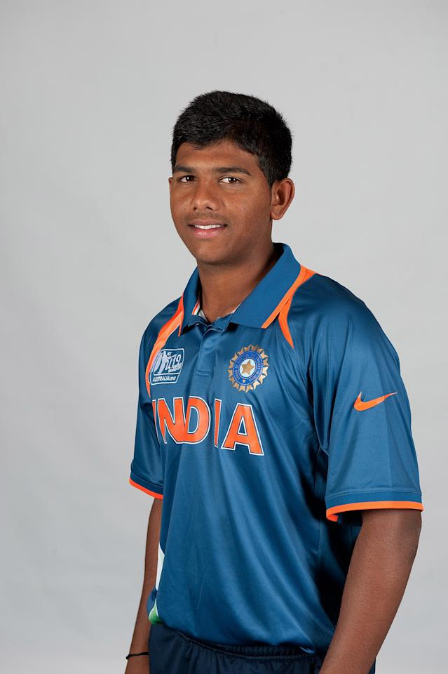 BRISBANE, AUSTRALIA - AUGUST 06:  Akhil Herwadkar of India poses during a ICC U19 Cricket World Cup 2012 portrait session at Allan Border Field on August 6, 2012 in Brisbane, Australia.  (Photo by Matt Roberts-ICC/Getty Images)