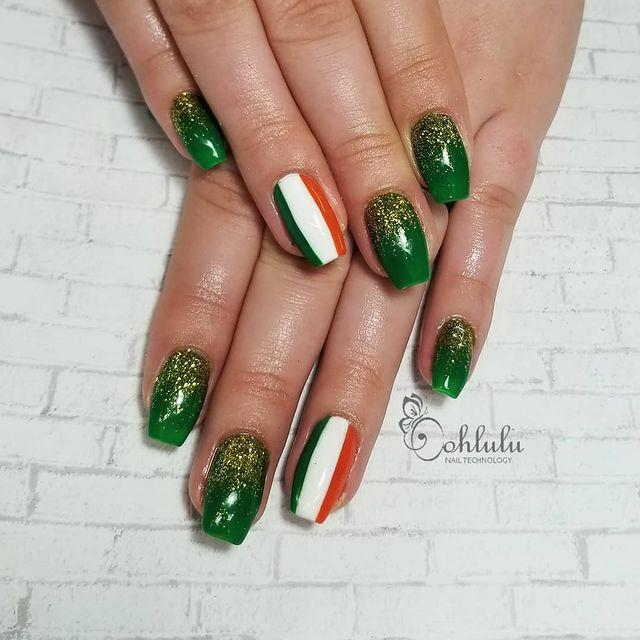 """<p>There's no mistaking this pattern, especially with the Irish flags that will be waving everywhere on St. Patty's day. So it's a good thing that Ireland's flag is easy to paint — just a vertical stripe of green, white and orange. </p><p><a class=""""link rapid-noclick-resp"""" href=""""https://www.amazon.com/OPI-Lacquer-Summer-Lovin-Having/dp/B079QGXD9F/?tag=syn-yahoo-20&ascsubtag=%5Bartid%7C10055.g.26310821%5Bsrc%7Cyahoo-us"""" rel=""""nofollow noopener"""" target=""""_blank"""" data-ylk=""""slk:SHOP ORANGE NAIL POLISH"""">SHOP ORANGE NAIL POLISH</a> </p><p><a href=""""https://www.instagram.com/p/BvIsUhChjbS/&hidecaption=true"""" rel=""""nofollow noopener"""" target=""""_blank"""" data-ylk=""""slk:See the original post on Instagram"""" class=""""link rapid-noclick-resp"""">See the original post on Instagram</a></p>"""