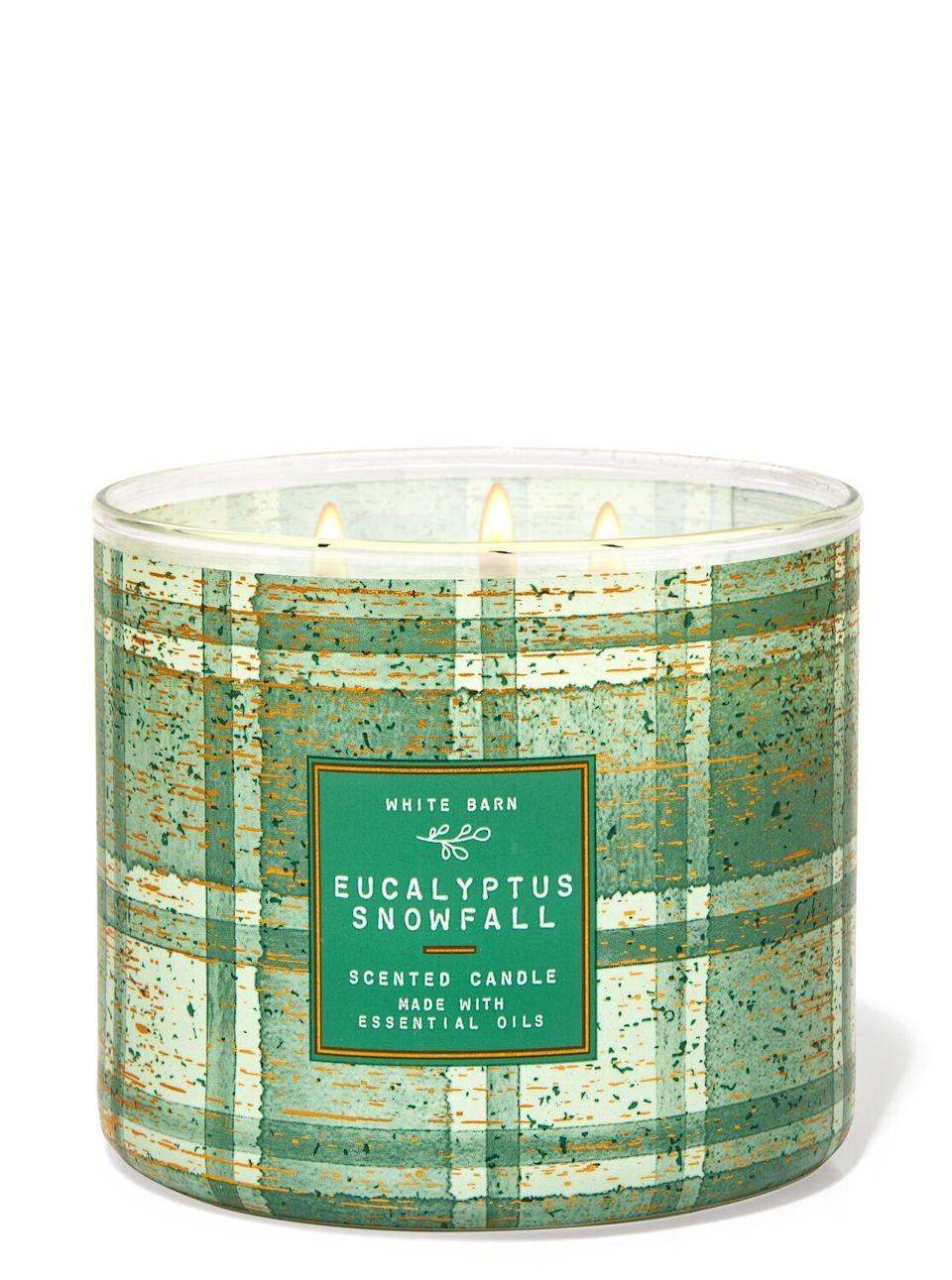 "<p><strong>Bath & Body Works</strong></p><p>bathandbodyworks.com</p><p><strong>$24.50</strong></p><p><a href=""https://www.bathandbodyworks.com/p/eucalyptus-snowfall-3-wick-candle-026178777.html"" rel=""nofollow noopener"" target=""_blank"" data-ylk=""slk:Shop Now"" class=""link rapid-noclick-resp"">Shop Now</a></p><p>Are there better candles at Bath & Body Works? Yes. Will you regret this one? Absolutely not. I'm sure your S.O.'s mom is going to looooove it. </p>"